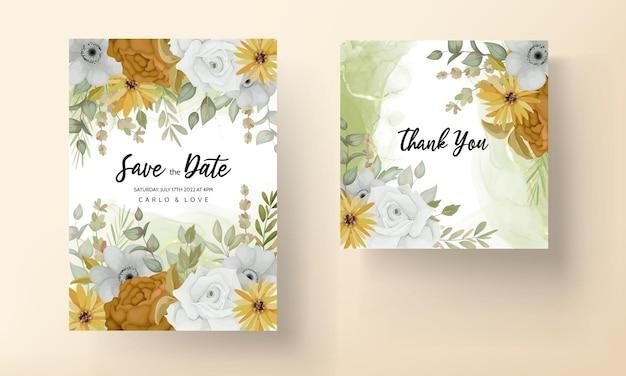 美しい秋の花の結婚式の招待カード