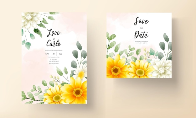 Wedding invitation card with beautiful blooming daisy flower template