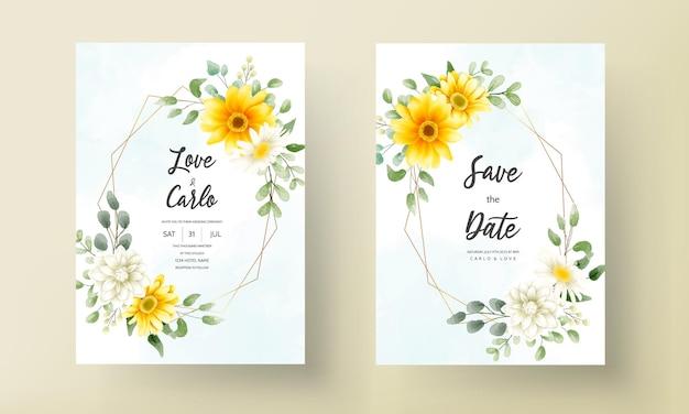 아름 다운 피 데이지 꽃 템플릿 결혼식 초대 카드
