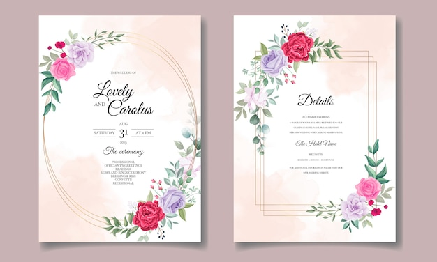 Wedding invitation card with beautiful blooming floral