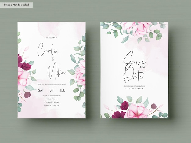 花が咲く美しい結婚式の招待状