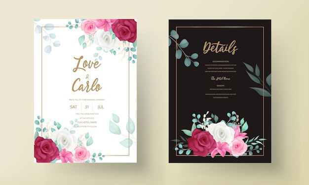 Wedding invitation card with beautiful blooming lily and rose flower