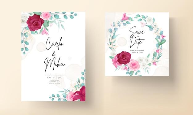 Carta di invito a nozze con bellissimo giglio in fiore e fiore di rosa