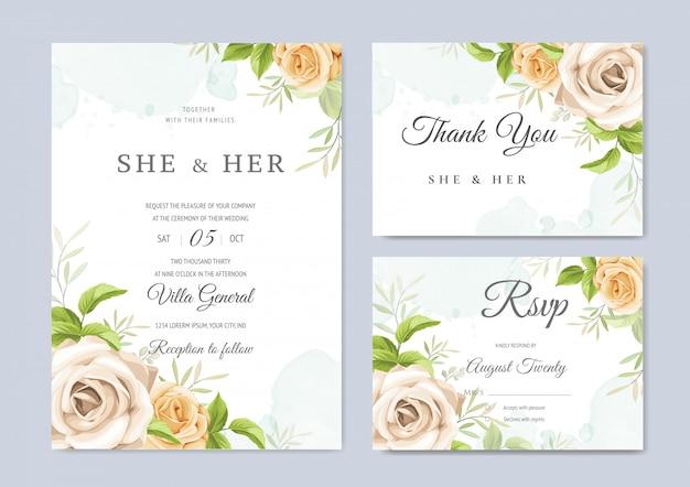 결혼식 초대 카드 아름다운 꽃과 나뭇잎 템플릿
