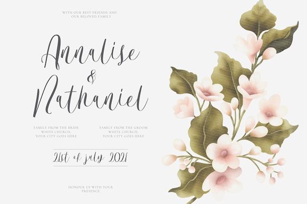 아름 다운 꽃 부케와 결혼식 초대 카드