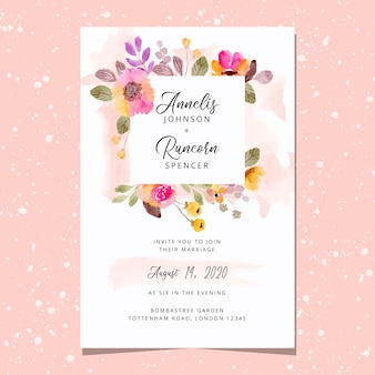 Wedding invitation card with beautiful floral frame watercolor