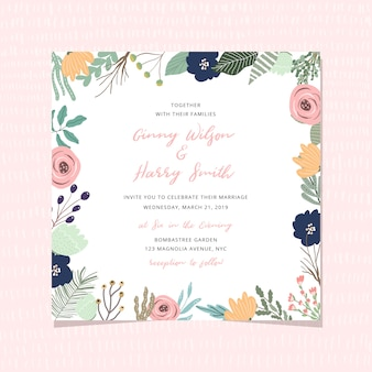 Wedding invitation card with beautiful floral frame