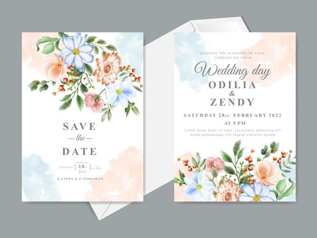 Свадебное приглашение с красивой цветочной рисованной