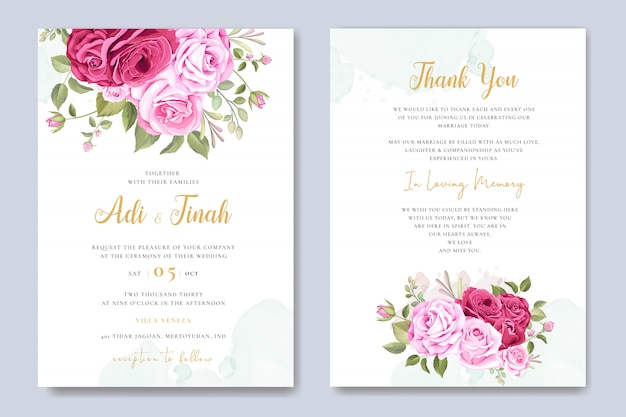 Wedding invitation card with beautiful floral and leaves template
