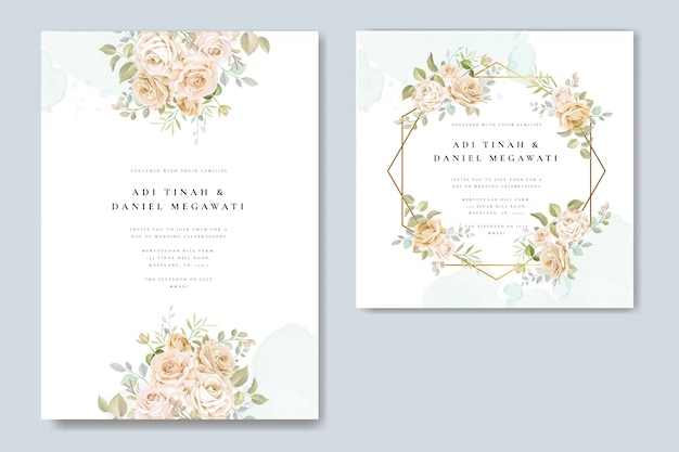 Wedding invitation card with beautiful floral and leaves