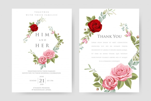 Wedding invitation card with beautiful floral template