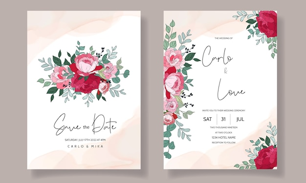Wedding invitation card with beautiful floral