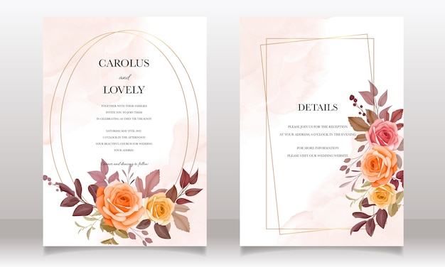 Wedding invitation card with beautiful flower and leaves autumn fall