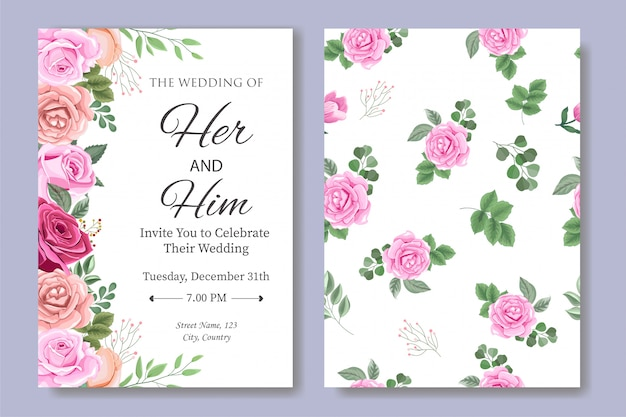 Wedding invitation card with beautiful flower and leaves