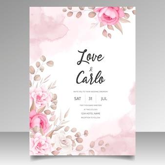 아름다운 꽃 장식으로 결혼식 초대 카드