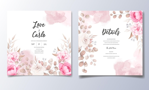 美しい花飾りの結婚式の招待カード