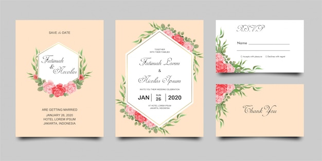 Wedding invitation card with beautiful flowers leaves