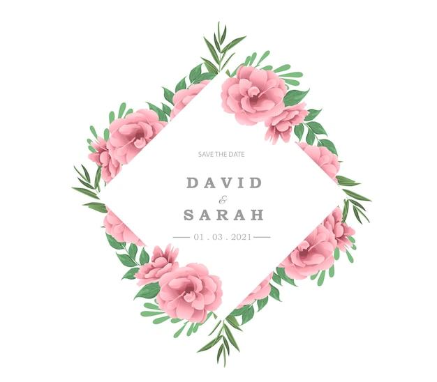 Wedding invitation card with beautiful flowers