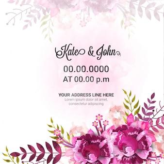 Свадебная пригласительная открытка с красивыми цветами.