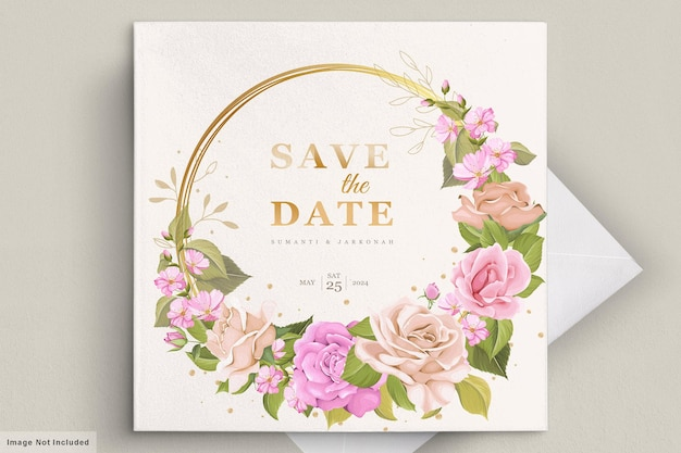 아름 다운 꽃으로 결혼식 초대 카드