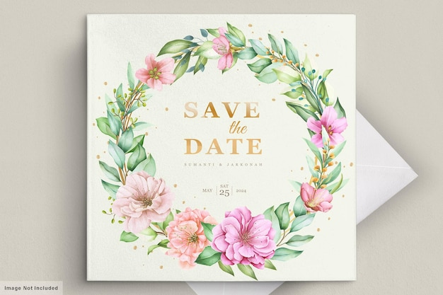 Wedding invitation card with beautiful flowers
