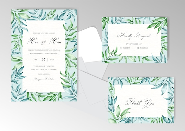 Wedding invitation card with beautiful greenery floral frame
