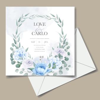 아름 다운 손으로 결혼식 초대 카드 그리기 꽃