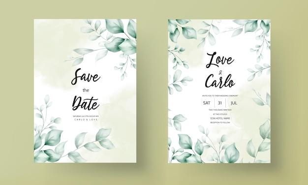Свадебная пригласительная открытка с красивым украшением из листьев