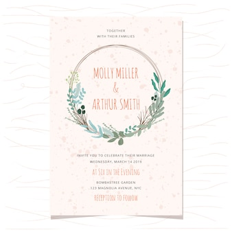 Wedding invitation card with beautiful leaves wreath