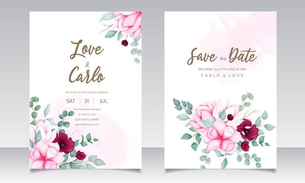 Carta di invito a nozze con bellissimo fiore di magnolia