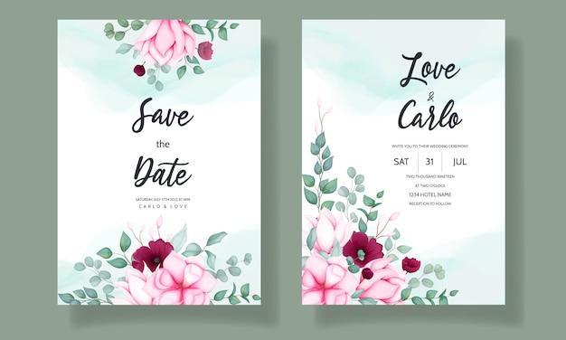 Свадебное приглашение с красивым цветком магнолии