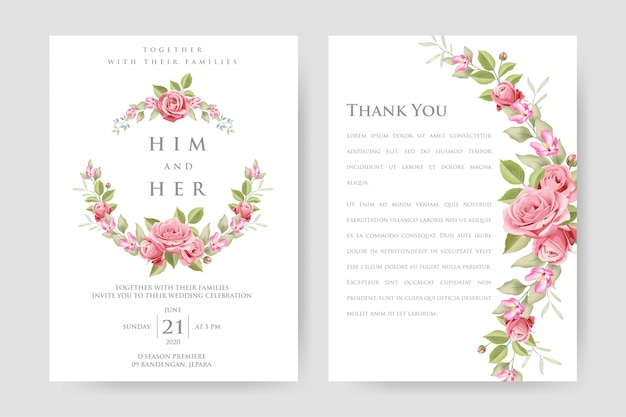 Wedding invitation card with beautiful pink roses and leaves