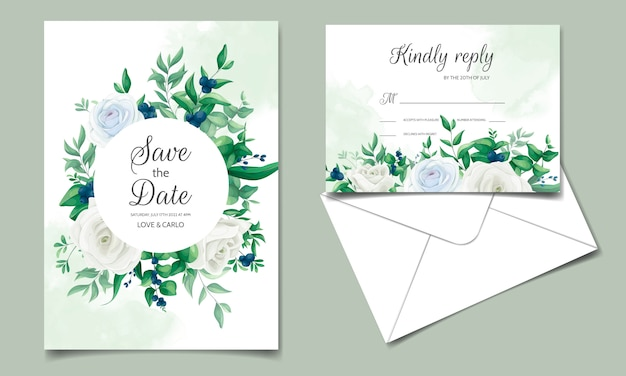 Wedding invitation card with beautiful roses,  greenery  leaves,  and blueberries