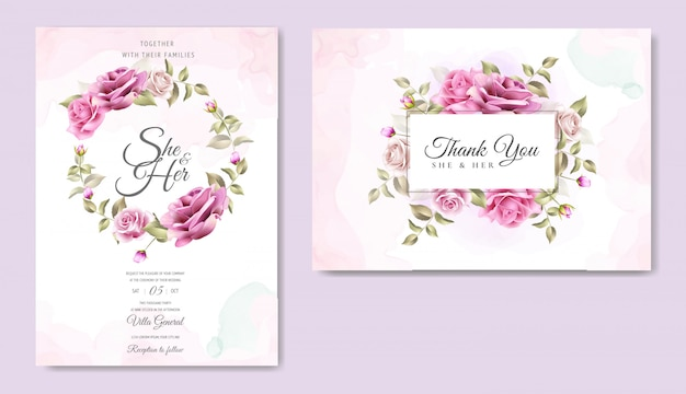 Wedding invitation card with beautiful roses and leaves