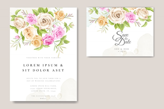 Wedding invitation card with beautiful roses template