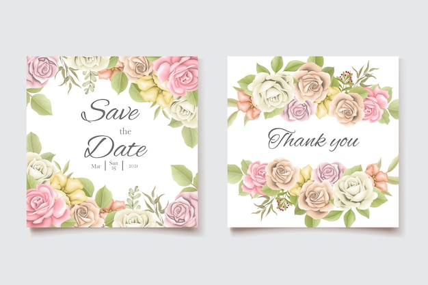 美しいバラのテンプレートと結婚式の招待カード
