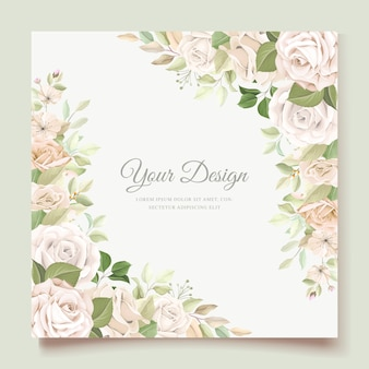 Wedding invitation card with beautiful roses