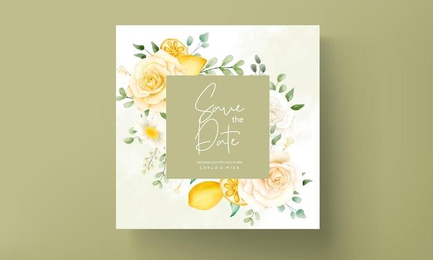 Свадебное приглашение с красивыми летними розами и рамкой из лимонного венка