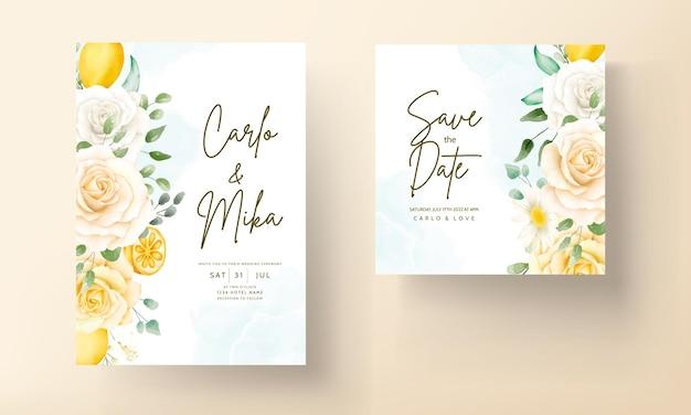 美しい夏のバラとレモン リース フレームの結婚式の招待カード