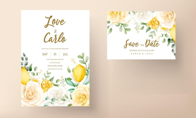 Wedding invitation card with beautiful summer roses and lemon wreath frame