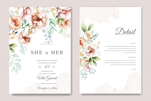 Wedding invitation card with beautiful watercolor floral and leaves