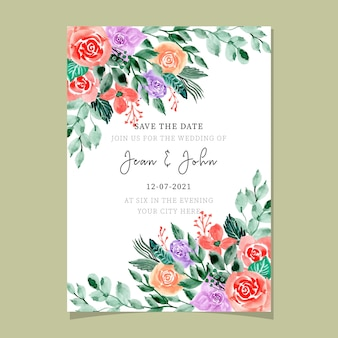 Wedding invitation card with beautiful watercolor floral
