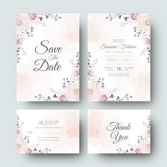Wedding invitation card with beautiful watercolor flower and leaves