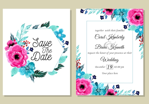 Wedding invitation card with beautiful watercolor flower
