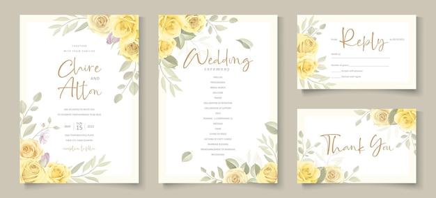 Wedding invitation card with beautiful yellow rose flower design