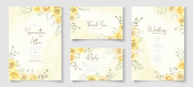 美しい黄色いバラの花のデザインが施された結婚式の招待状