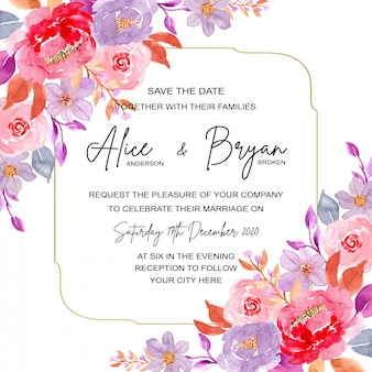 Wedding invitation card with black and white background