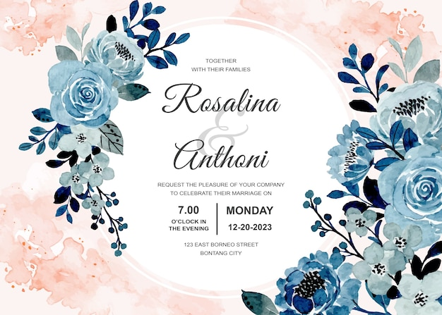 Wedding invitation card with blue floral watercolor abstract background