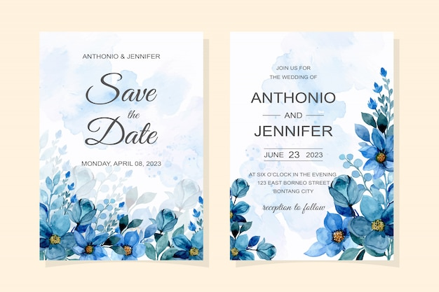 Wedding invitation card with blue floral watercolor