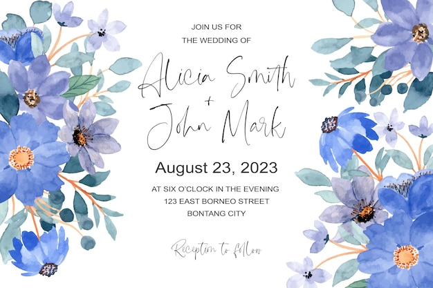 푸른 꽃 수채화와 결혼식 초대 카드